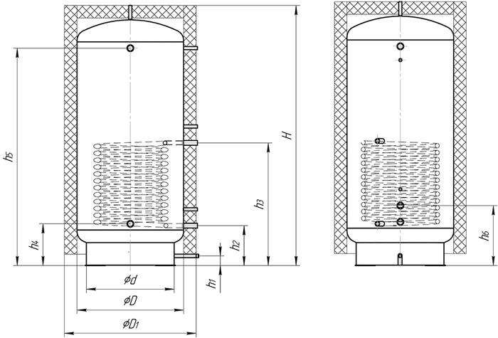 Теплоаккумулятор с нижним спиральным теплообменником схема