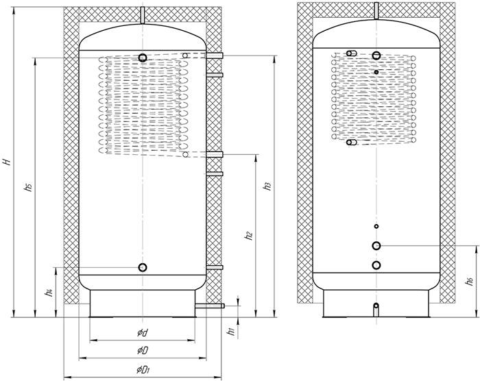 теплоаккумулятор с верхним спиральным теплообменником