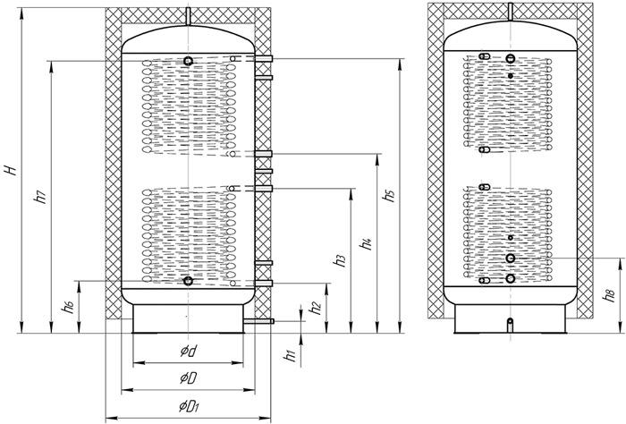 Теплоаккумулятор с двумя спиральными теплообменниками